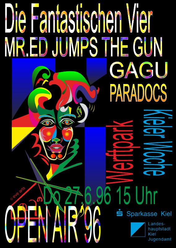 Auftritt des Clowns auf einem Plakat  eines Open-Air-Events