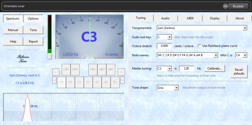 Chromatic Tuner zeigt C=128Hz